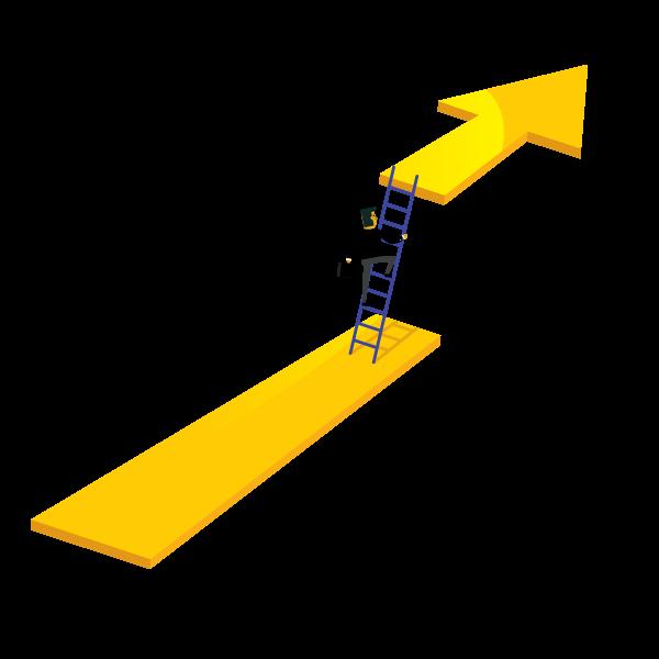 Man climbing a latter up an arrow